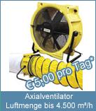 Kraftvoller Axialventilator zur Beschleunigung der Neubautrocknung, auch geeignet zur Be- und Entlüftung.