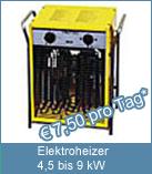 Ein Elektroheizer 9 kW hält Ihren Neubau frostsicher. Technische Daten: Spannung: 400 V / 16 A. Frequenz: 50 Hz. Heizleistung: max. 9 kW