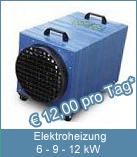Bauheizgerät. mit Ventilator. Technische Daten: Spannung: 400 V / 32 A. Frequenz: 50 Hz. Heizleistung: max. 12 kW