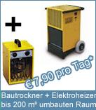 Set Bautrockner TTK 200 + Elektroheizer 3 kW, für die Bautrocknung und Luftentfeuchtung, zur schnellen Trocknung und bequemen Beheizung.
