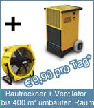 Set Bautrockner TTK 200 + Ventilator. Zur Steigerung der Luftzirkulation bei der Bautrocknung und Raumtrocknung.