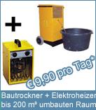 Set Bautrockner TTK 400 + Elektroheizer 3 kW,  als Heizlüfter Heizgerät Bauheizer Werkstattheizung in Business, Industrie und Baugewerbe.