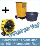 Set Bautrockner TTK 400 + Ventilator. Durch die  Luftumwälzung wird die Verdampfung der Feuchtigkeit an den Mauer- und Estrichoberflächen wesentlich beschleunigt.