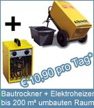Set Bautrockner TTK 600 + Elektroheizer 3 kW. Elektroheizung ist die Möglichkeit einen Neubau frostsicher zu heizen.