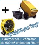 Set Bautrockner TTK 600 + Ventilator! Für eine noch schnellere Trocknung sollte jeder Bautrockner mit einem Ventilator ergänzt werden. Der Ventilator beeinflusst die Trocknungsleistung signifikant.